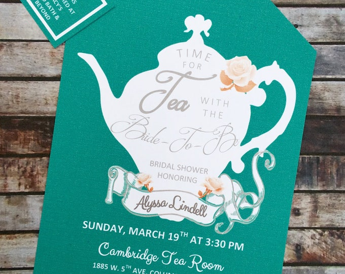 Tea Party Teal and Coral Shower Invitations Tea Pot Style on Elegant Linen Card Stock