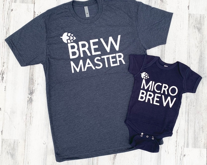 Father and Son Shirts - First Fathers Day - Brew Master and Micro Brew - Beer Lover Shirt Set