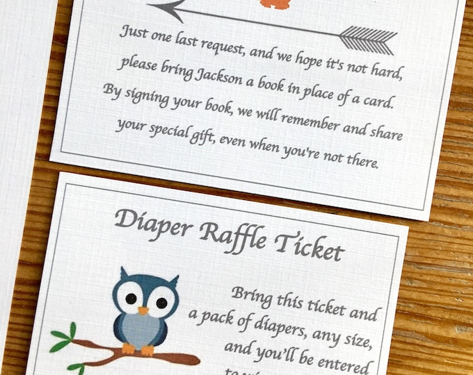 Additional insert Cards for Woodland Invitations