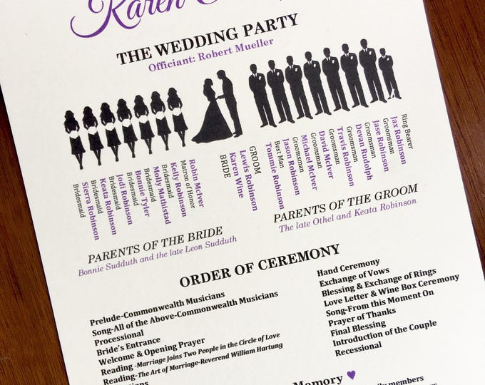 Purple and Black Customizable Wedding Ceremony Programs (Silhouette Style)