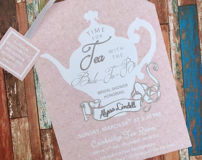 Tea Party Pink Marble and White Shower Invitations Tea Pot Style on Elegant Linen Card Stock