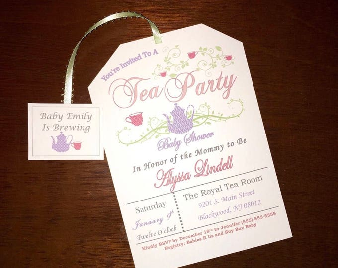 Tea Party Baby Shower Invitations - Tea Pot Style with envelopes