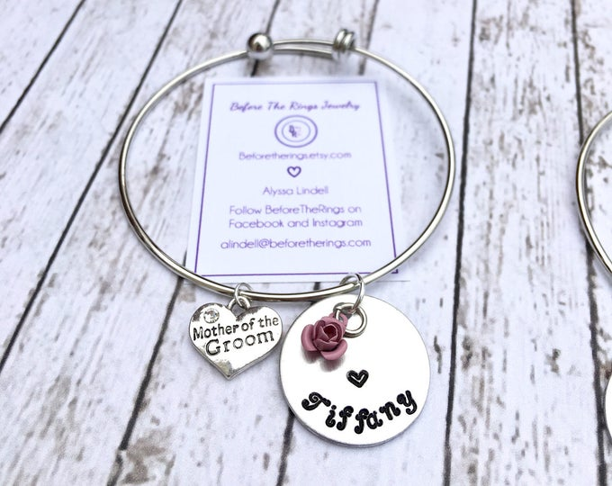 Mother of the Bride Bangle with Engraved Name - Wedding Thank you Gift