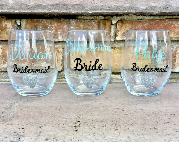 Bridal Party Wine Glasses - Bridesmaid Wine Glasses - Bridesmaid Gifts - Bridal Party Gifts - Bridal Proposals