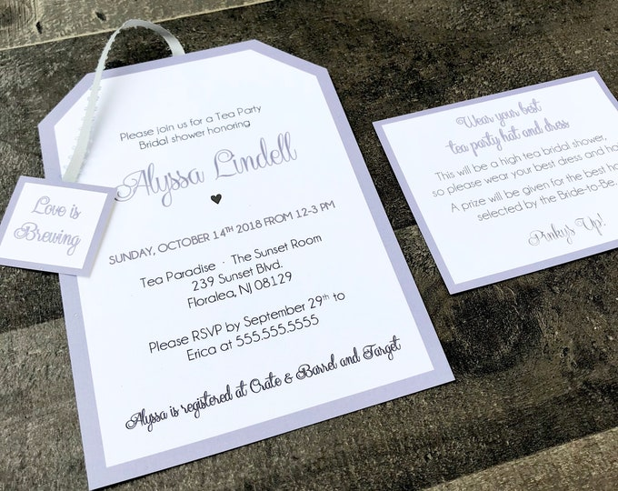 Tea Party Invitations - Customizable for Any Event - Baby - Bridal - Birthday - and More