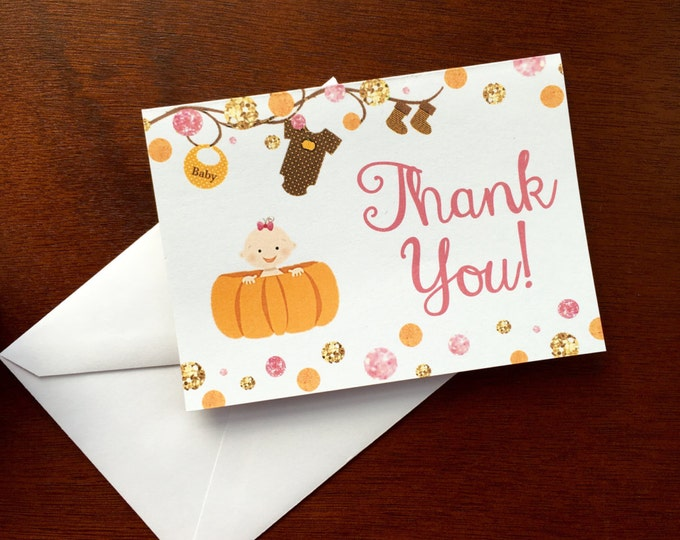 Thank you cards - Little Pumpkin is on the way - Girl
