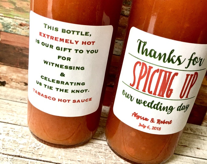 2 Spicing up Labels front and back- Thanks for Spicing up our wedding day or night - Hot Sauce Favor Labels