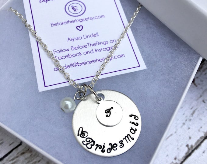 Bridesmaid Stamped Necklace with Initial - Proposal Jewelry - Bridal Party Proposals