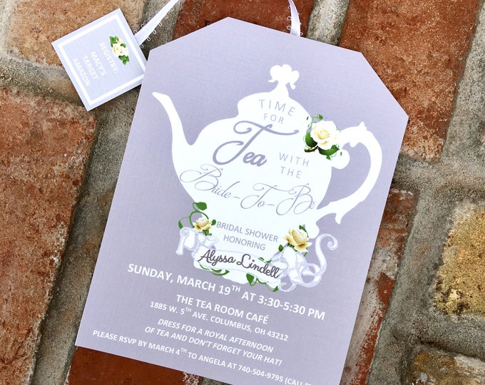 Elegant Tea Party Shower Invitations Tea Pot Style on Linen Card Stock