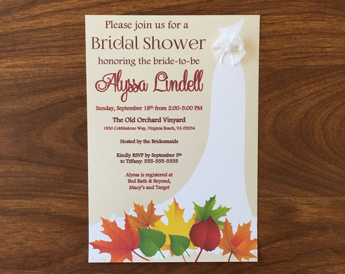 Fall Themed Dress with Bow Bridal Shower Invitations Fall, Autum leaves theme shower