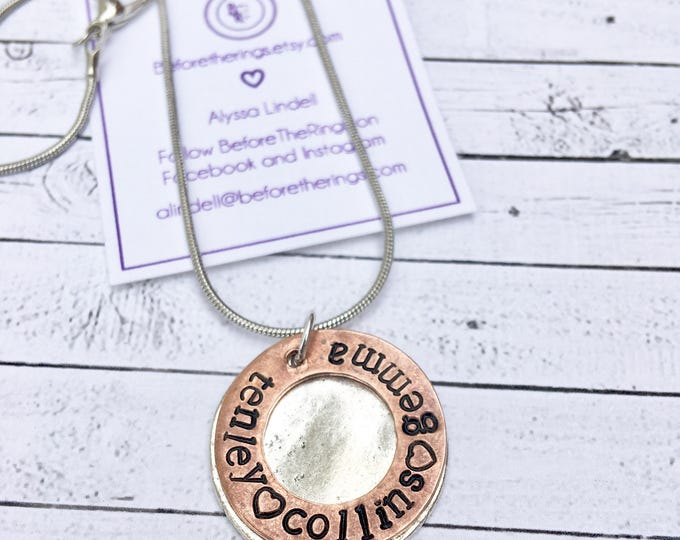 Baby stacked Name Stamped Necklace - Child's Names - Mother's Day gift - Necklace for mom - Mothers Love