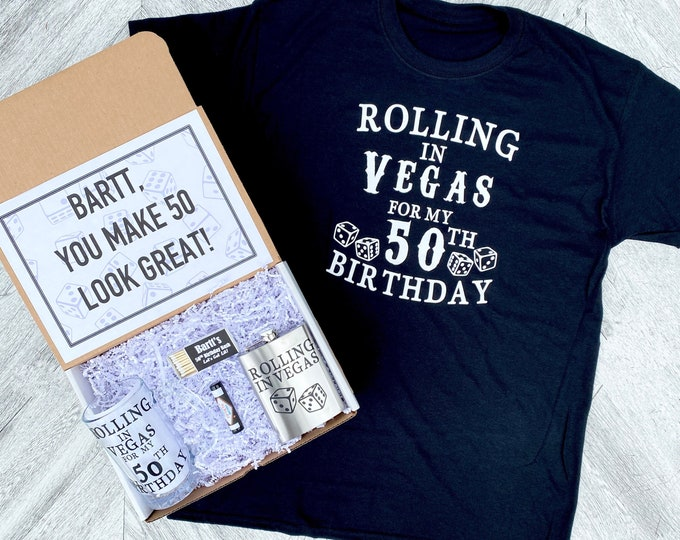 50 Vegas Birthday Gift - Rolling in Vegas - Fifty and Fabulous - 50 Look Great - Vegas Shirt- Glass Drink Jug - Marches and Chapstick
