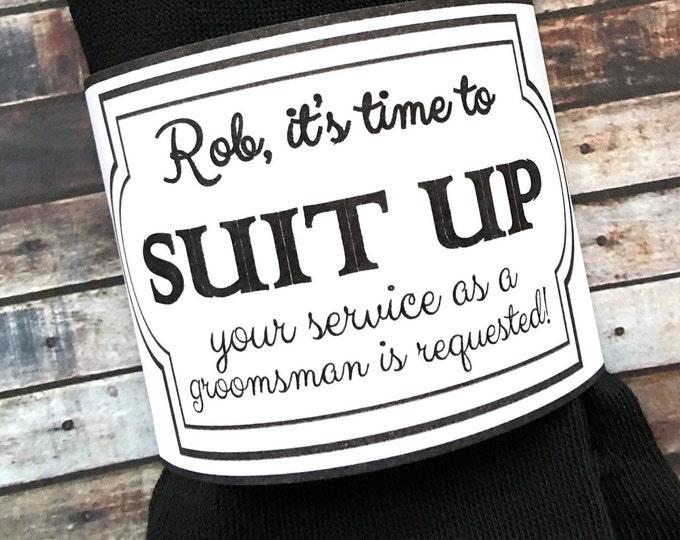 Groomsman Socks and Sleeves - Will you be my groomsman - Groomsman service requested - Suit up bestman socks - Groomsman proposal