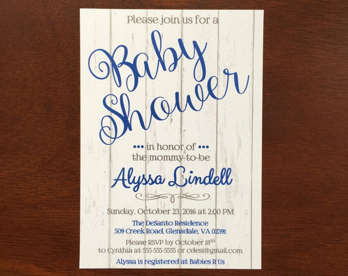 Baby Shower Invitations with wood panel background