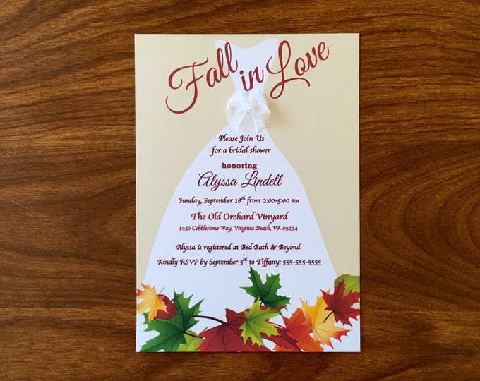 Fall in Love Dress with Bow Bridal Shower Invitations Fall, Autum leaves theme shower