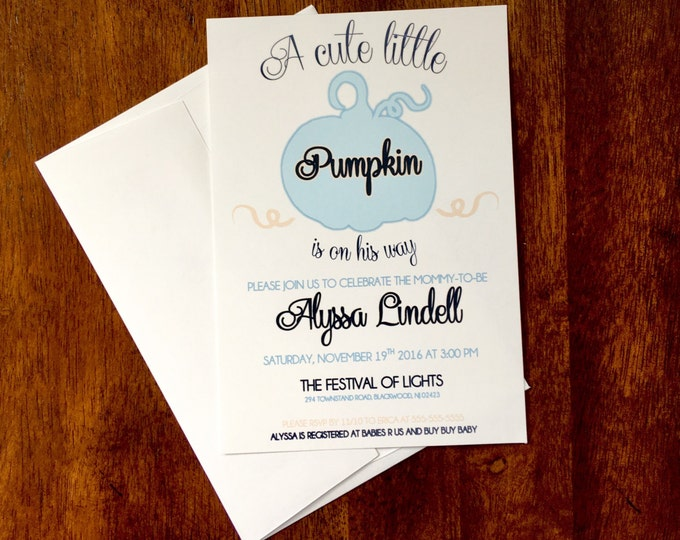 Little Pumpkin is on His Way Boy Baby Shower Invitations Fall themed shower