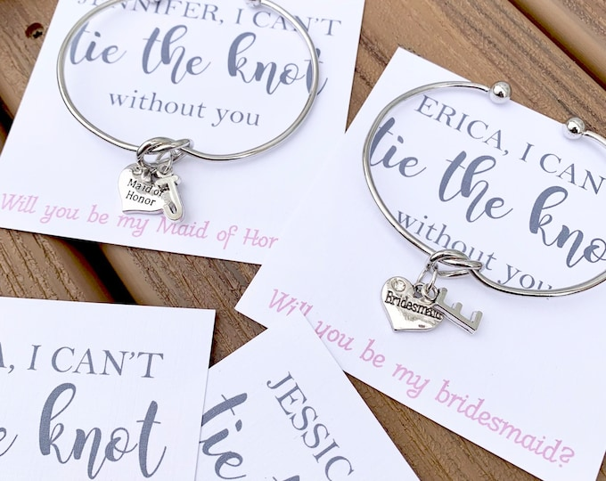 Tie The Knot Bracelet with Personalized Card - I Can't tie the Knot without You - Be my Maid of Honor - Bridal Party Proposal