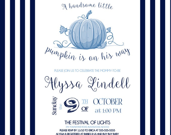 Easy Self Print Little Pumpkin is on His Way Boy Baby Shower Invitations Fall themed shower