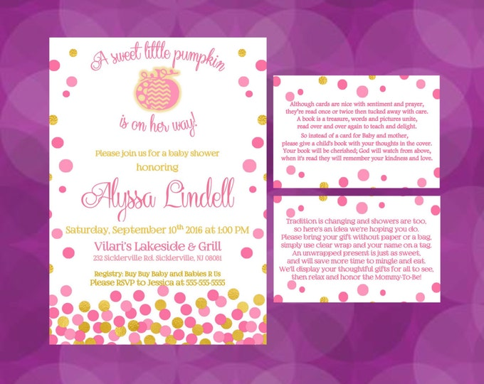 A Little Pumpkin is on Her Way Girl Baby Shower Invitations Fall themed shower