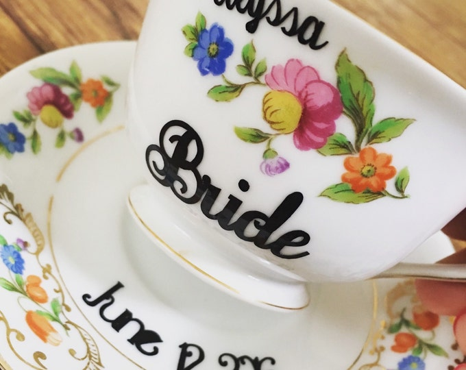 Personalized Decals for Tea Cup for the Bride to be - Tea Party Bridal Shower Decor