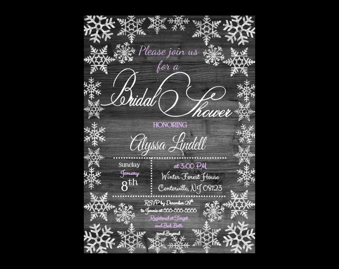 Self Print Winter Themed Bridal or Baby Shower Invitations - Snowflake and Snow Bridal