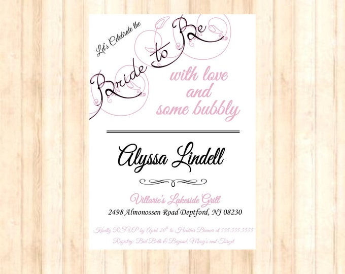 Self Printable Bridal Shower Invitations Love and Bubbly with the Bride-to-Be (pearls)-color customizable