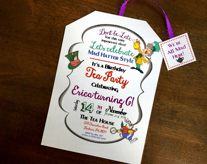 Tea Party Mad Hatter Style / Bridal, Baby or Birthday / color customizable / Don't be late for this very important date / word customizable