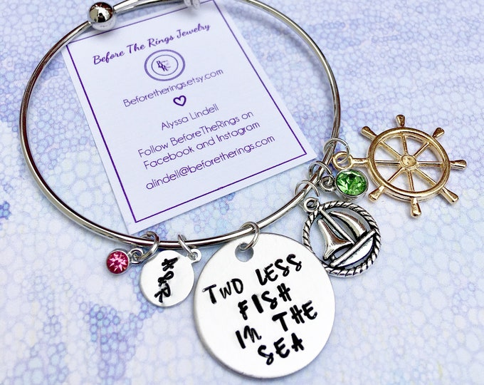 Two Less Fish in the Sea - Bangle with Initials and Charms - Gift for the Bride - Bridal Shower Gift