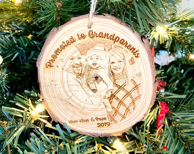 Personalized Wood Engraved Photo Ornament - Wood Etched - Laser Photo Ornament - Promoted to Grandparents