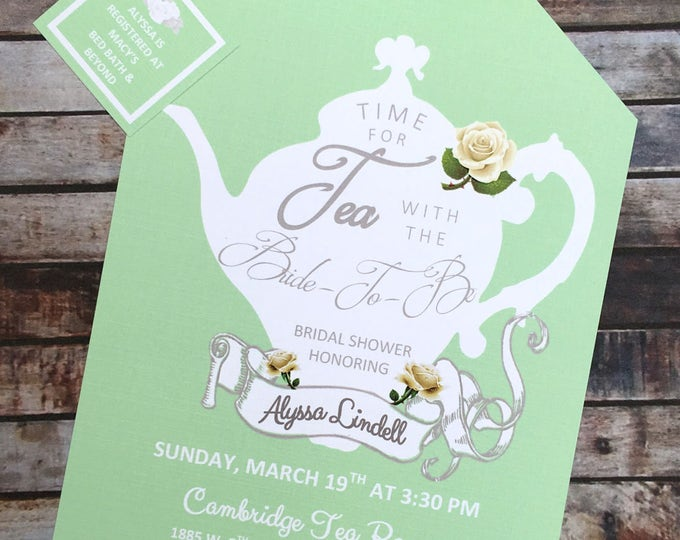 Tea Party Mint Green and White Shower Invitations Tea Pot Style on Elegant Linen Card Stock