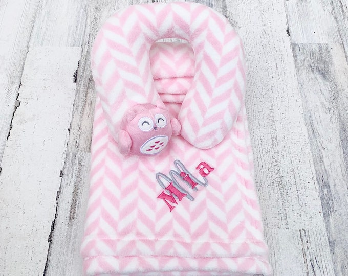 Embroidered Baby Blanket and Newborn Head Pillow - Personalized - Super Plush and Soft Blanket with Baby Name and initial