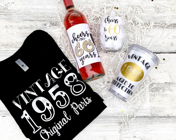 Birthday Gift Set - Vintage Shirt - Wine Glass - Tumbler - Wine Label - Cheers to 60 Years!
