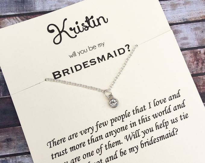 Will you be my Bridesmaid Diamond necklace - Proposal Jewelry - Bridal Party Proposals