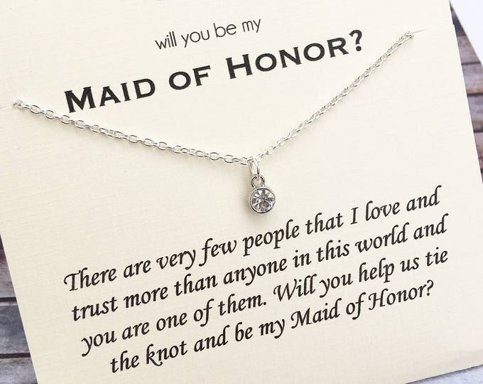 Will you be my Maid of Honor Diamond necklace - Proposal Jewelry - Bridal Party Proposals