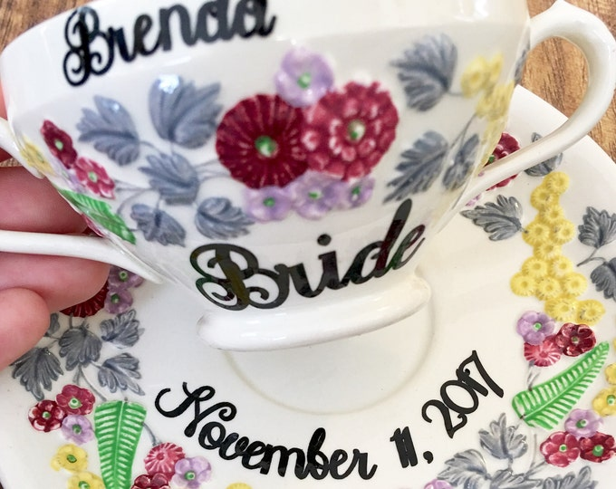 Personalized Antique Vintage China Tea Cup for the Bride to be - Tea Party Bridal Shower Decor