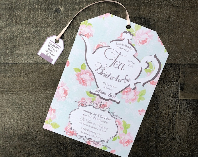 Tea Party Bridal Shower Invitations - Tea Party Baby Shower Invitations - Tea Bag Shape - Customizable - Envelopes Included