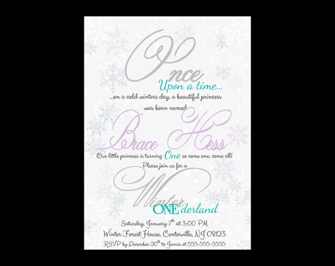 Self Print Winter ONEderland Birthday Invitations