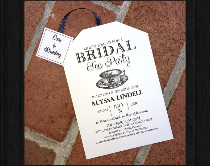 Tea Party Bridal Shower Invitations Black and White