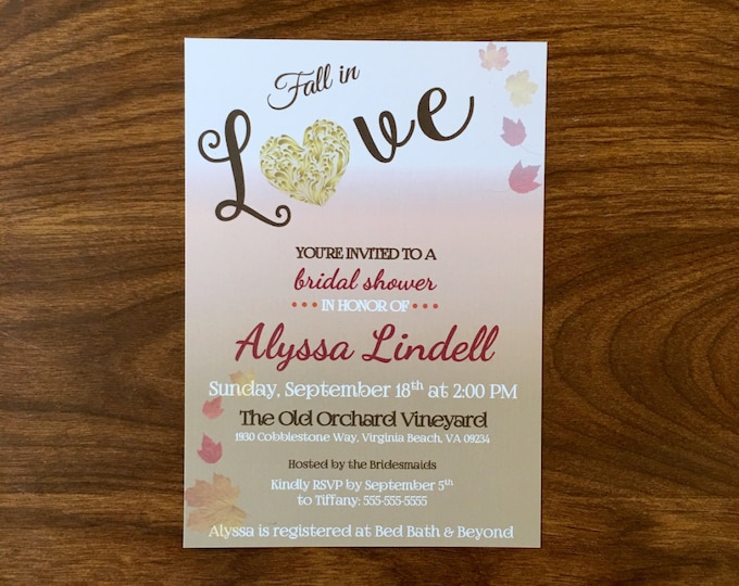 Fall in Love Bridal Shower Invitations Fall, Autum leaves theme shower