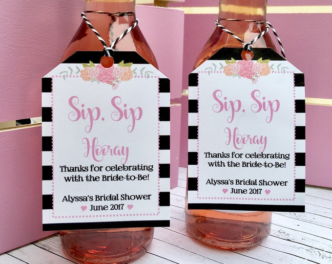 Pink and Black Favor Tags for Small Wine or champagne Bottles - Customizable Tags - Sip Sip Hooray - Bridal Shower Favors - Wedding Favors