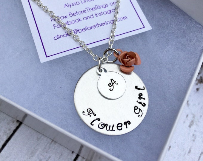 Flower Girl Stamped Necklace with Initial - Proposal Jewelry - Bridal Party Proposals
