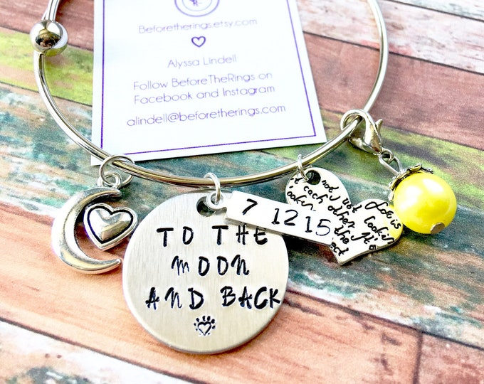 I Love you To the Moon and Back - Bangle with Wedding Date and Charms - Gift for the Bride - Wedding Anniversary
