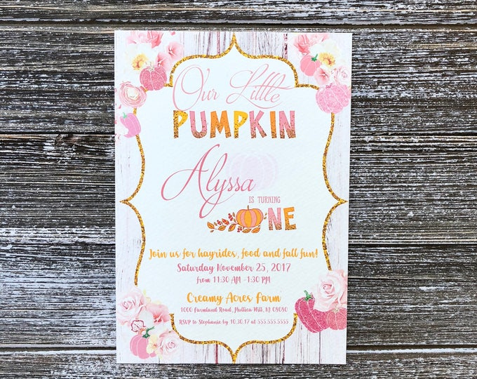 Our little Pumpkin is Turning One - Printed & Shipped - Birthday Invitations with Envelopes
