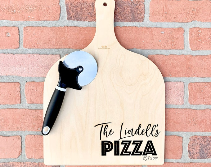 Wood Engraved Custom Pizza Tray - Anniversary or Wedding Gift - Personalized Pizza Tray with Name and Date - Pizza Cutter Included