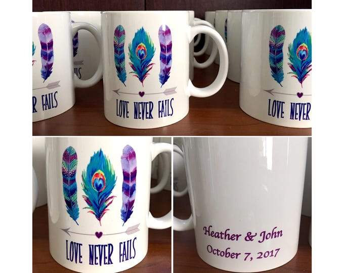 Shower Mug Favors - Bridal or Baby - Feather Arrow theme shower Mugs. Mug Party Favors / personalized mug / Love Never Fails