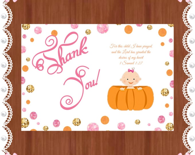 Double-Sided Personalized Thank you cards - Baby Shower - Little Pumpkin is on the way - Girl