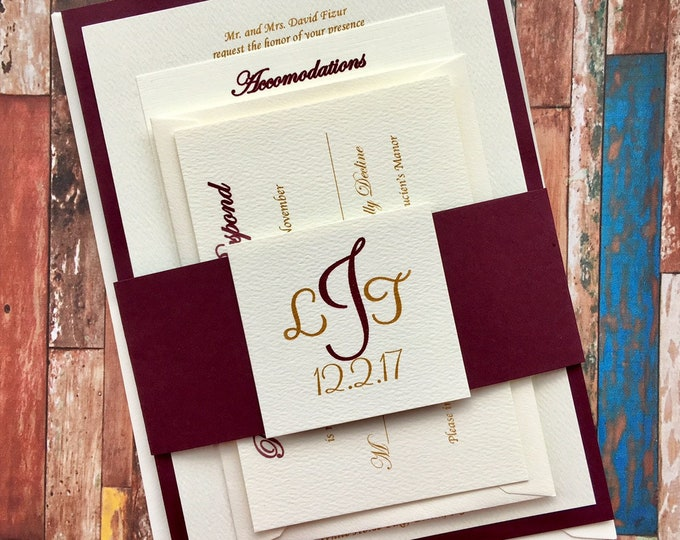 Burgundy and Gold Wedding Invitations - Burgundy Band Wrapped Dutch felt Invitations