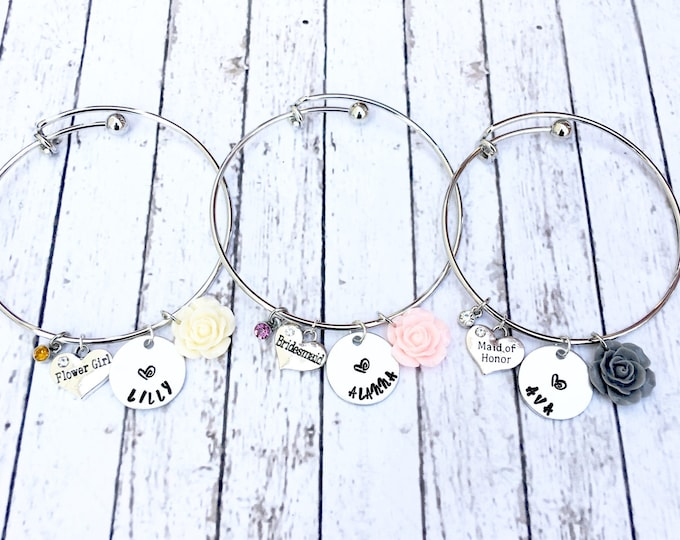 Bridesmaid Bangles with Engraved Name - Proposal Jewelry - Bridal Party Proposals