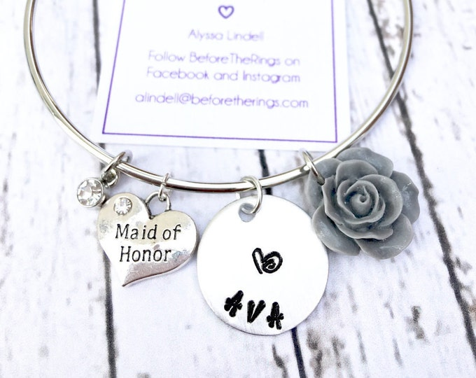 Maid of Honor Bangle with Engraved Name - Proposal Jewelry - Bridal Party Proposals