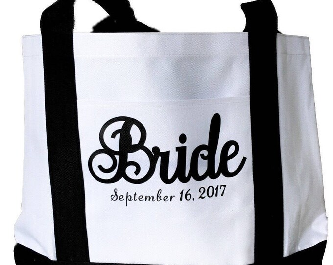 Large Bride Cruiser Tote Bag Personalized with Wedding Date